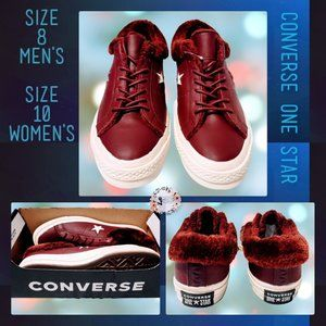🆕Converse One Star OX Burgundy Leather Shoes